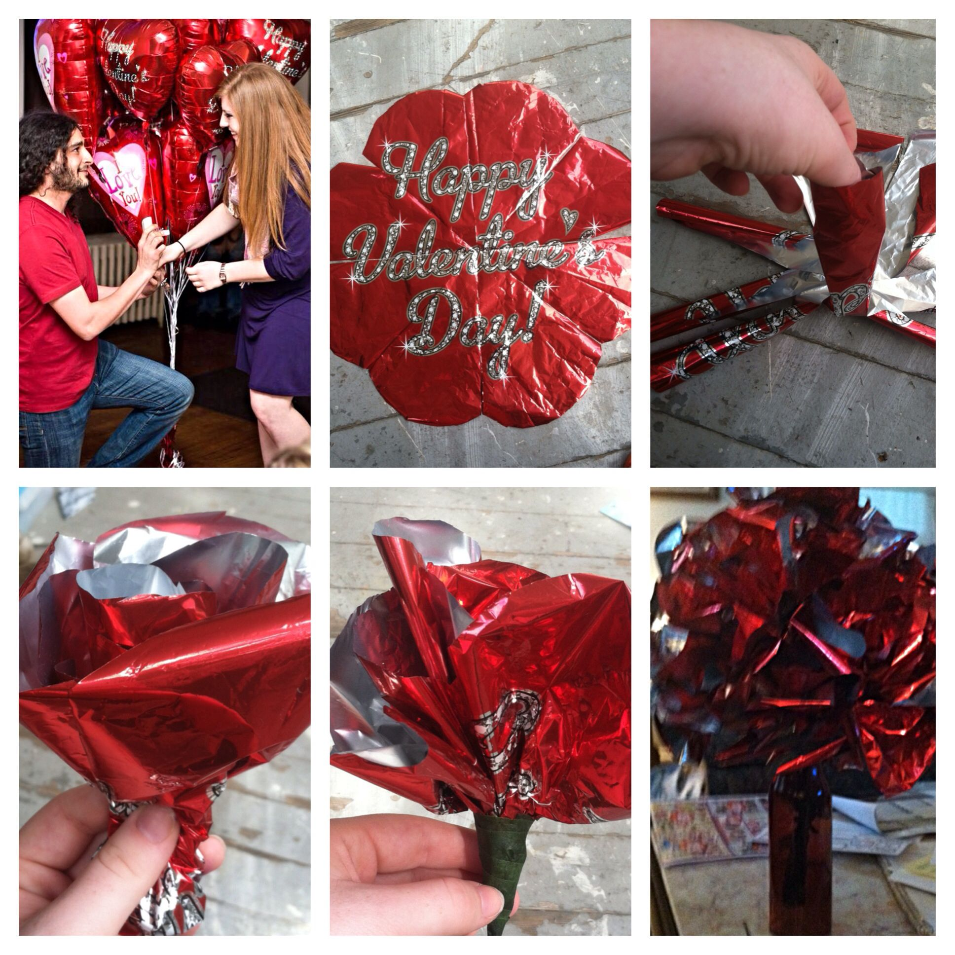 Turn you bouquet of balloons into flowers! 1. Fold the balloon in eighths and cut a rounded edge. 2. Unfold and cut along the ceases a half inch from center. 3. Fold in the ballon strips wrapping them around each other like a bud. 4. Tape to secure and attach to wire or pipe cleaners. 5. Arrange in a vase.