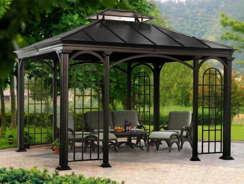 Review costco black metal gazebo | Garden Landscape | Outdoors, and ...