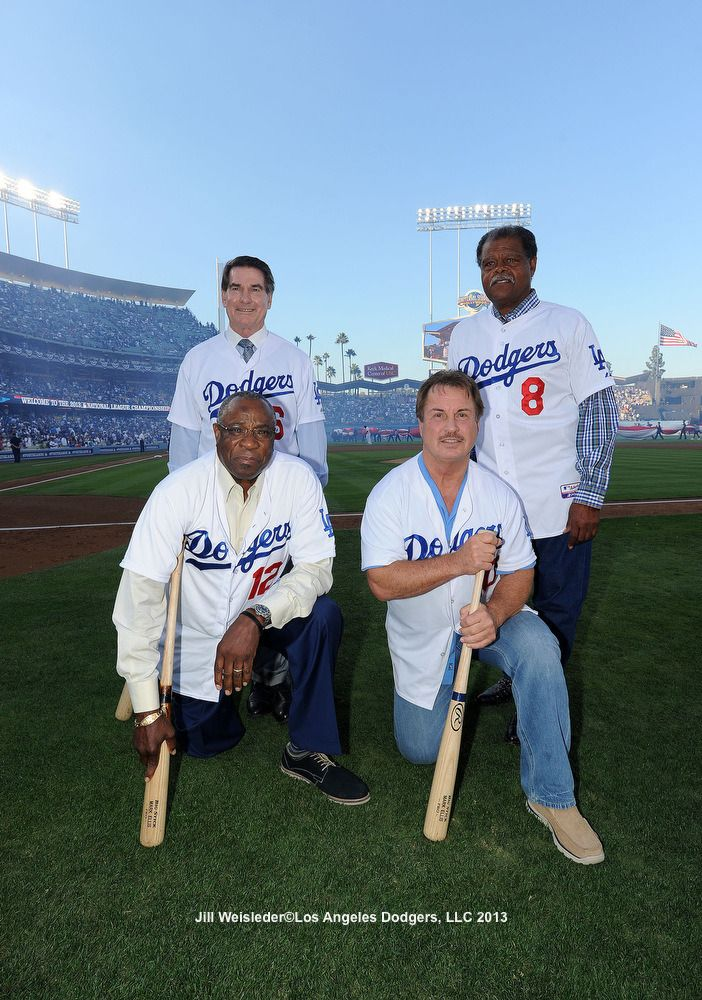 It's 1977 all over again! Steve Garvey, Reggie Smith, Ron Cey and Dusty Baker pose just as they did back in the day when they were the first quartet in MLB history to hit 30 or more home runs in a season.