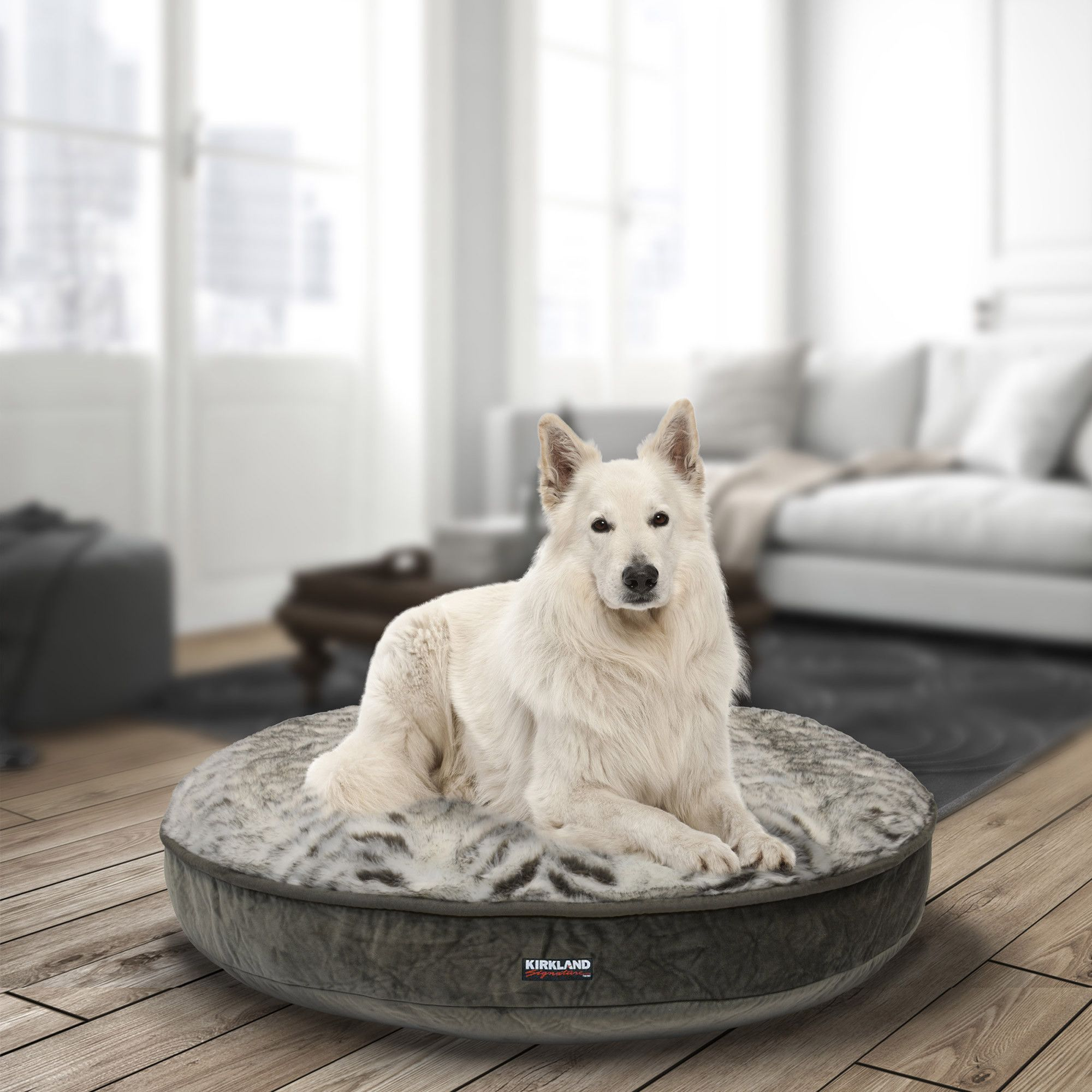 "Kirkland Signature 42"" Round Pet Bed Grey Plush Dog bed"