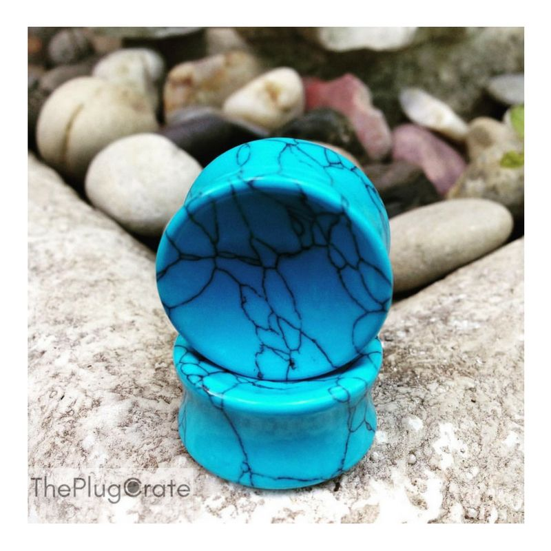 """Vibrant 1"""" hand made Turquoise stone plugs. Launch is coming soon! Don't forget to pre subscribe to receive a 10% discount code when we go live!"""