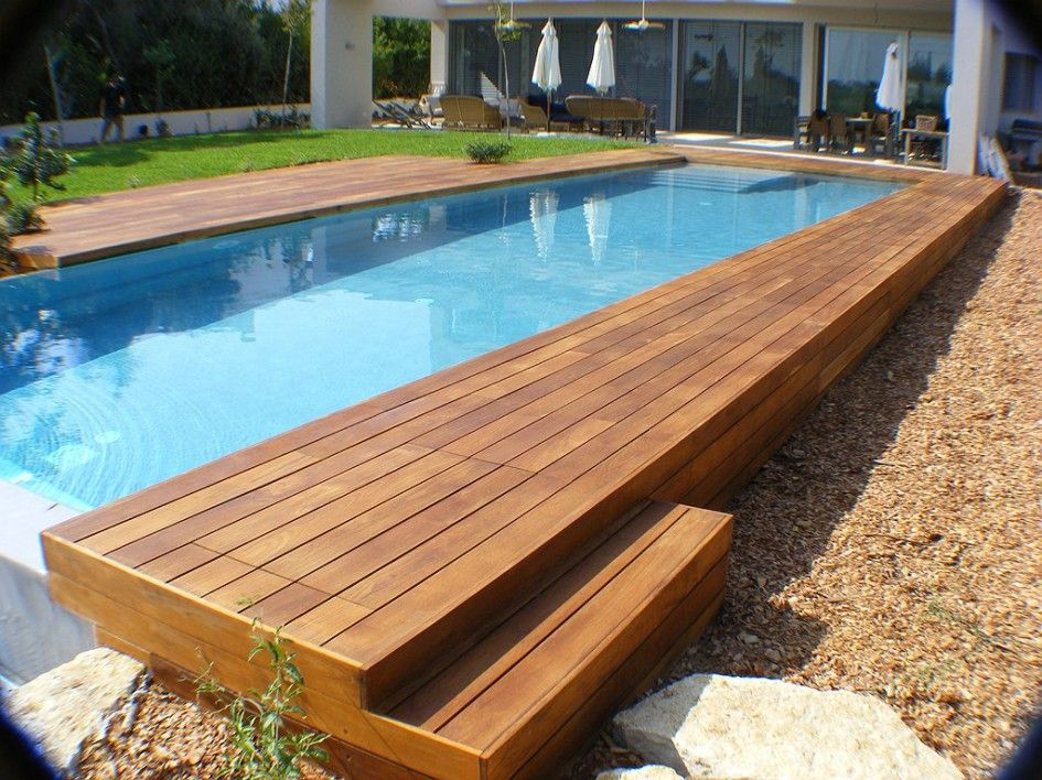Swimming Pool, Rectangular Above Ground Infinity Pool With Wooden Deck And  Umbrella Canopy Also Patio