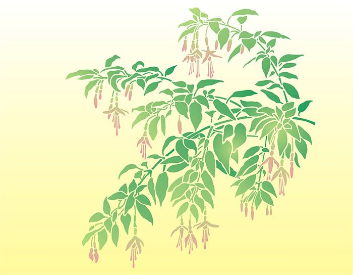 Fuchsia Branch From Our Garden | Stencil Designs From Stencil Kingdom