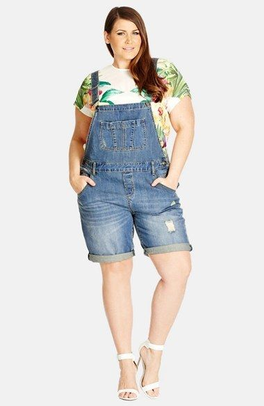 b0c70c66362 City Chic Short Distressed Denim Overalls (Mid Denim) (Plus Size) shortalls   UNIQUE WOMENS FASHION