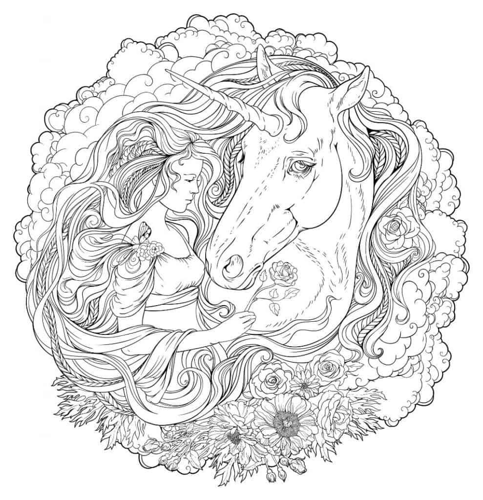 Unicorn Face Coloring Page For Adults from Printable
