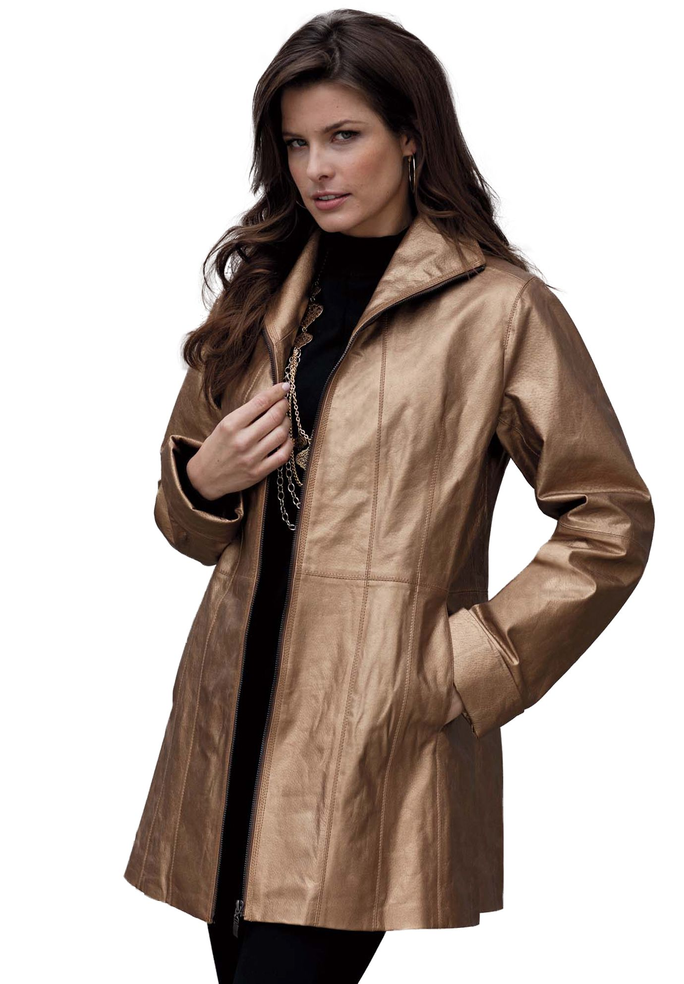 6de839519 Step out with confidence this season in Roaman s plus size Leather A-line  Jacket!  coats  roamans  plussize
