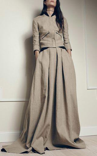 Nadja Linen Bomber Jacket by HELLESSY for Preorder on Moda Operandi