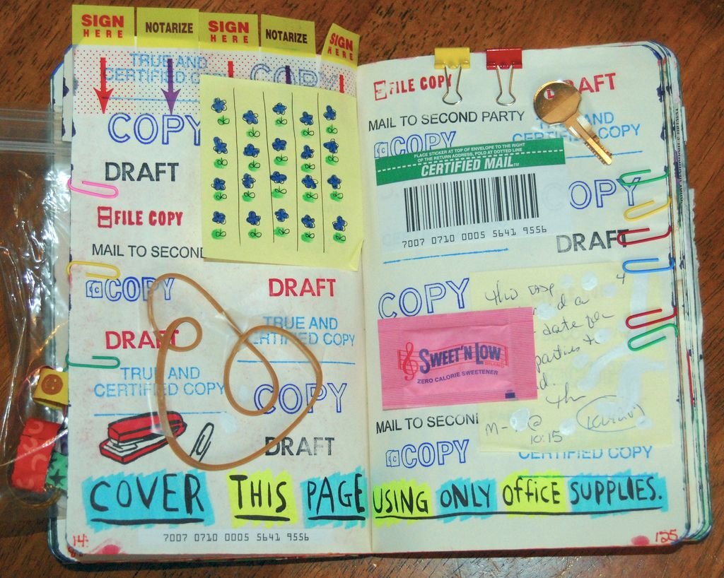 journal ideas se alle billederne i flickr gruppen lige her cover this page using only office supplies wreck this journal