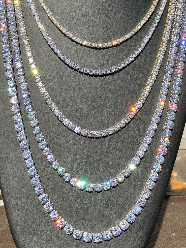 Tennis Chain Real Solid 925 Sterling Silver Single Row Icy Diamonds Bust Down Jewelry Diamond Chain Gold Chains For Men