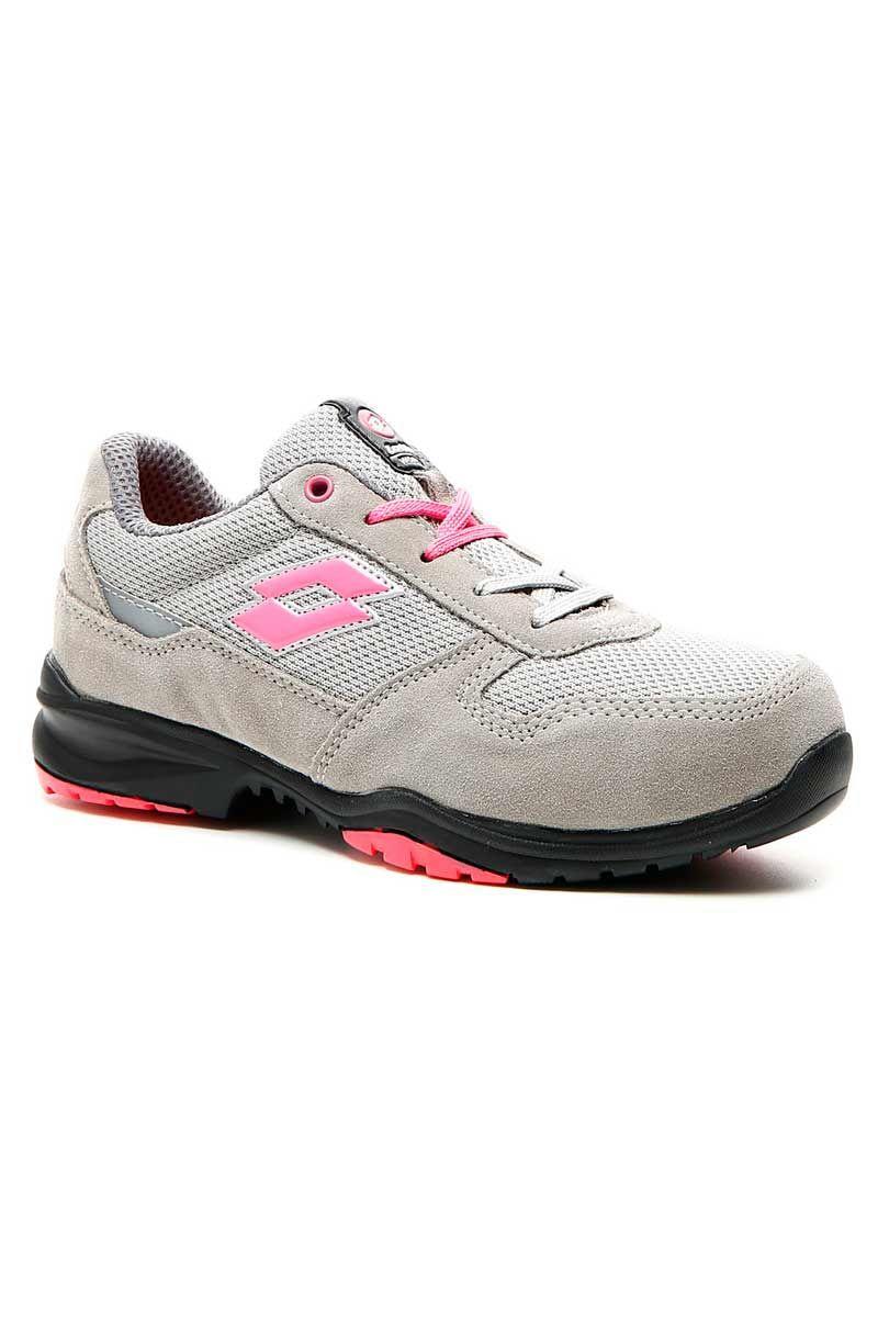 6c1e2a68 Zapato de seguridad para mujer Lotto Flex Evo 500 W, en color gris y detalle