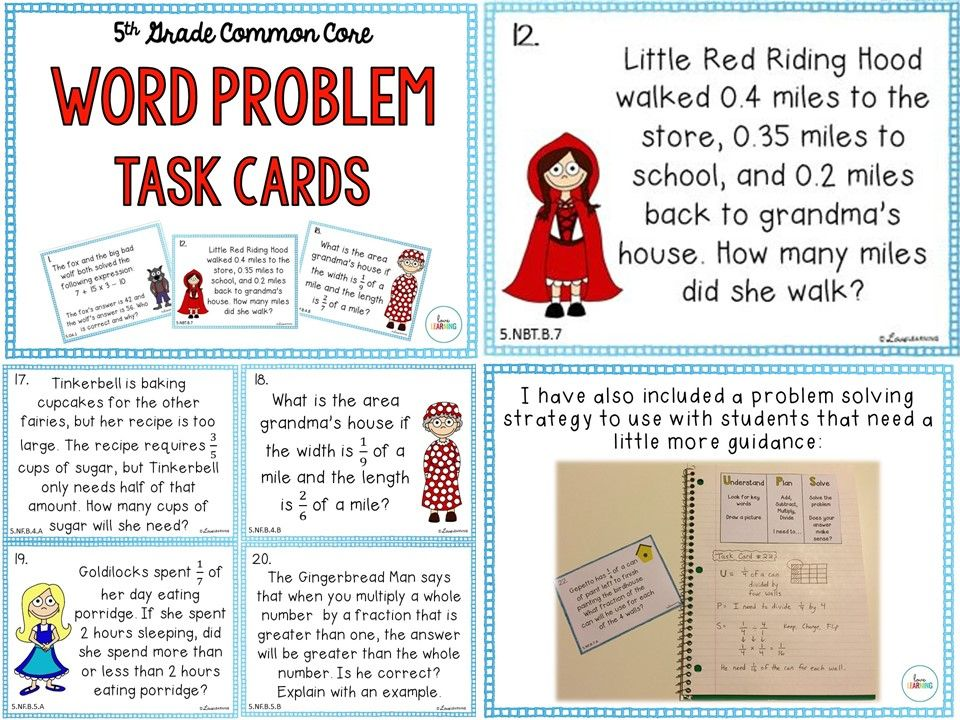 Word Problem Task Cards: Covers all 5th Grade Standards | Word ...