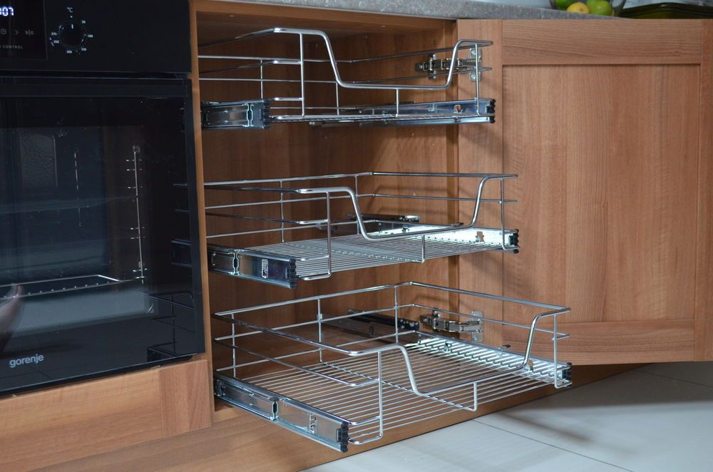 Beautiful Pull Out Wire Baskets Kitchen Cabinet Larder Cupboards 300 400 500 600 800  900