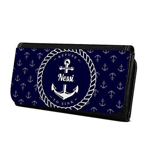 be5ccab3909de Geldbörse mit Namen Nessi - Design Anker - Brieftasche Geldbeutel  Portemonnaie personalisiert für Damen und Herren