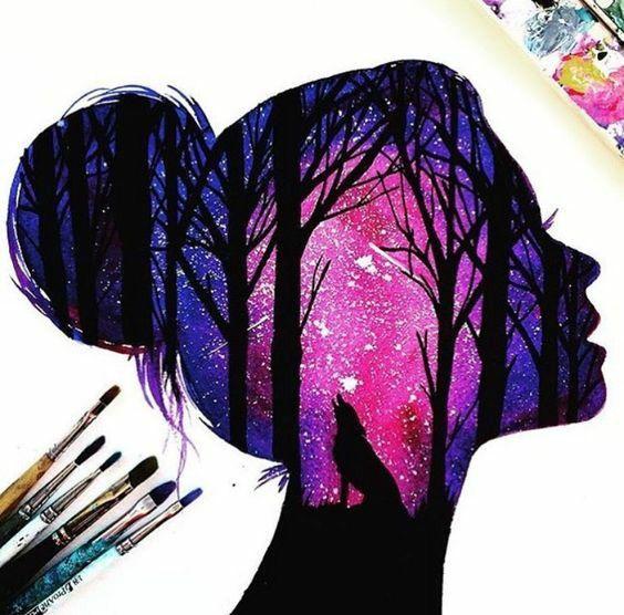Galaxy Girl Silhouette Art Silhouette Painting Art