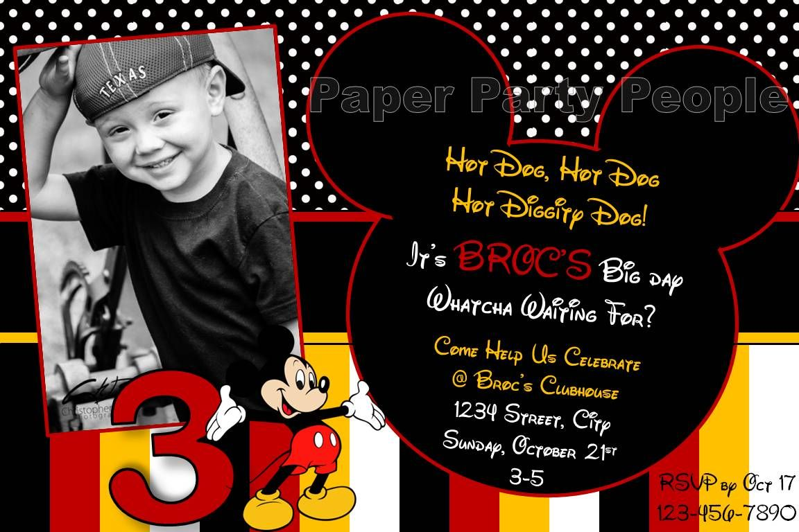 2nd birthday mickey mouse invitation wording Google Search