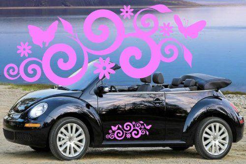 2 x SPIRAL BUTTERFLIES & FLOWERS VINYL CAR DECALS,STICKER... https ...