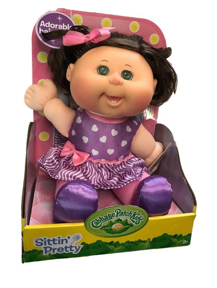 "Brown Hair Caucasian Girl Cabbage Patch Kids 11/"" Purple Retro Baby Green Eyes"