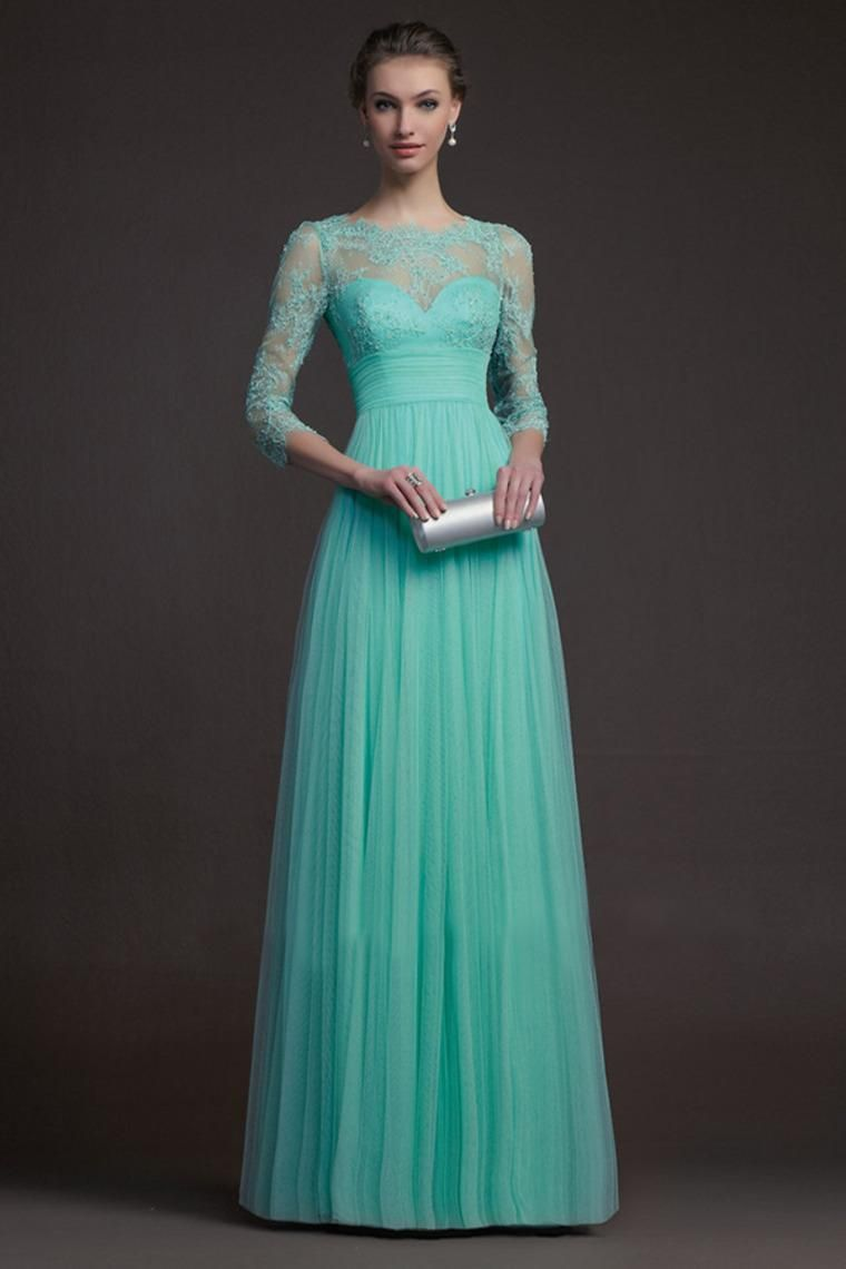 Long Sleeve Turquoise Bridesmaid Dresses Tulle And Lace See Through ...