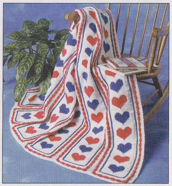 Hearts Afghan Crochet Pattern - Valentine\'s Day | mantas | Pinterest ...