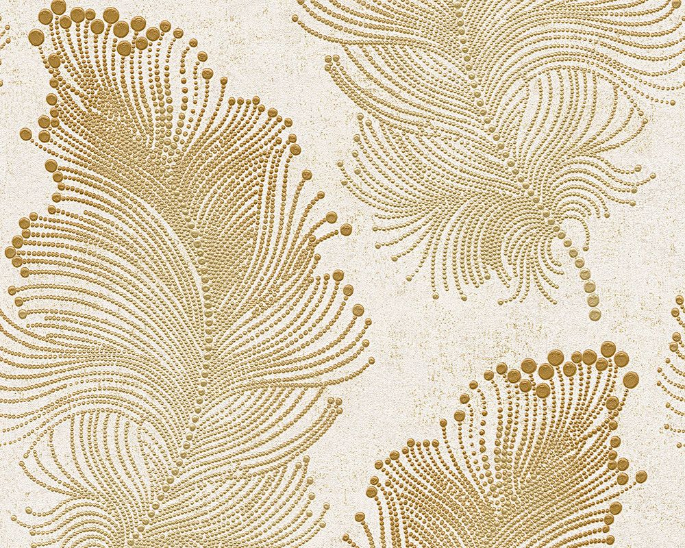 Baroque floral wallpaper in gold and ivory design by bd for Gold wallpaper for walls