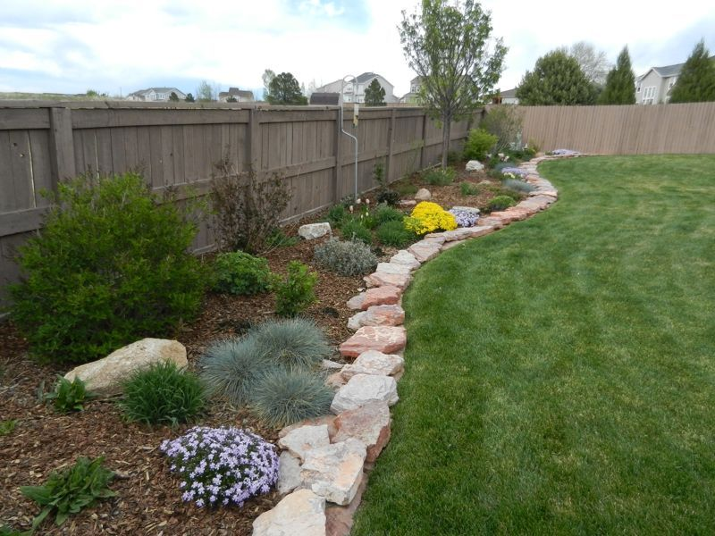 Zeroscaping to Xeriscaping in Colorado - along fence Great ... on for front yard rock landscaping ideas, japanese back yard landscaping ideas, small backyard landscape ideas, inexpensive landscaping ideas, modern back yard landscaping ideas,