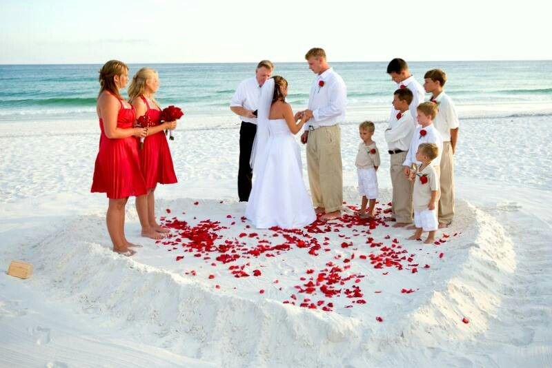 Vow Renewal Pictured Here But Love That They Are Standing In A Heart Made The Sand On Beach I LOVE THIS Since We Not Decorating