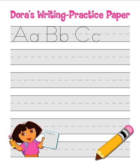 Print practice writing paper for your little ones! #Dora #NickJr - print writing paper