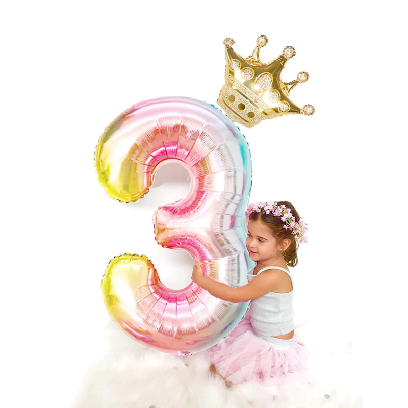 Well Crown Number Foil Balloon for Kids Birthday Party Wedding Decoration Globos