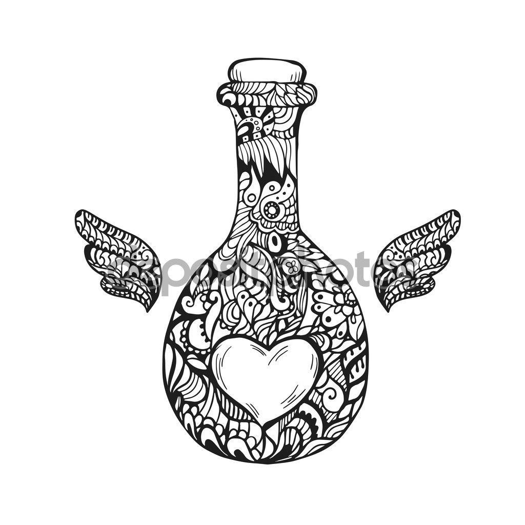 Botella del arte Zen de corazón para adultos antiestrés para ...