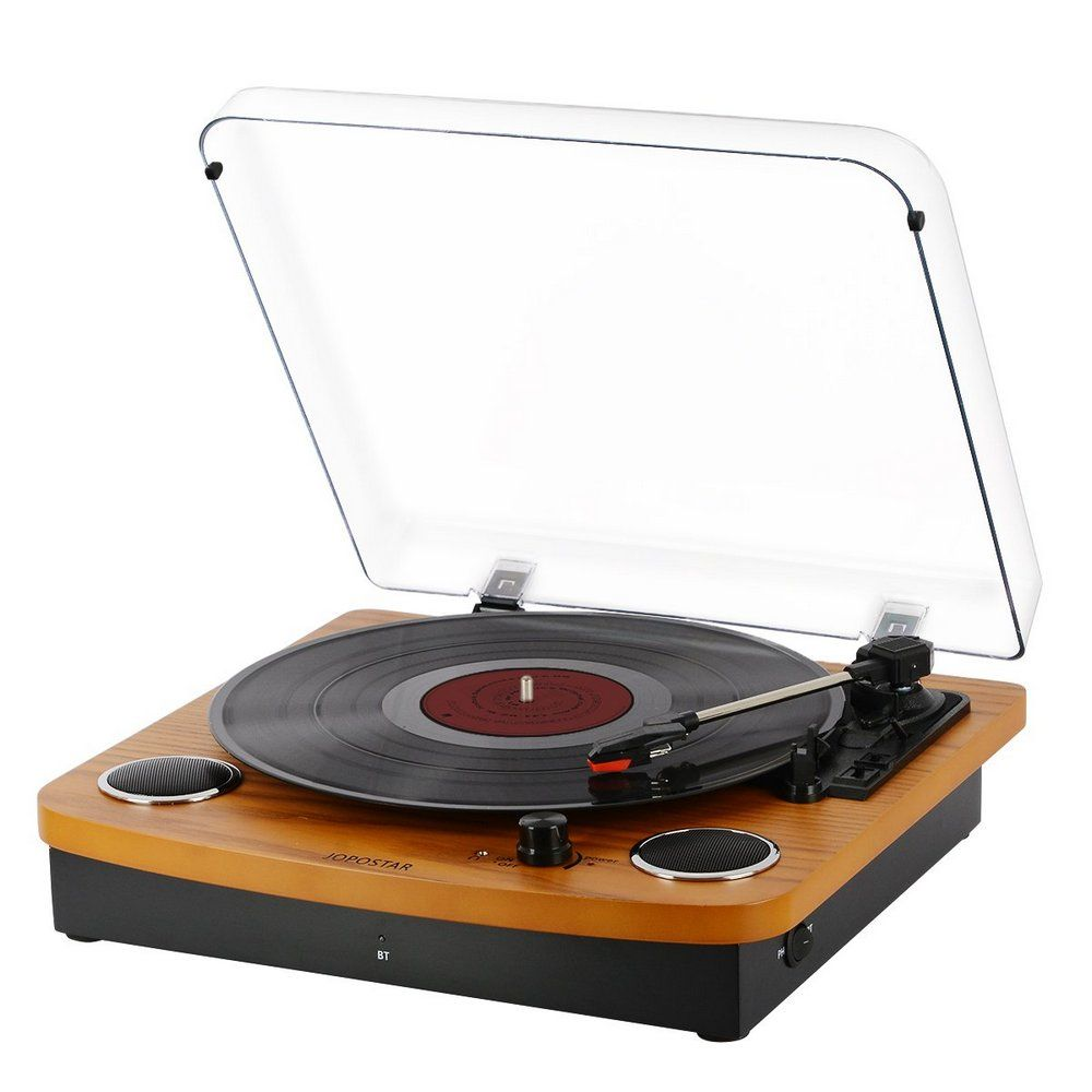 Jopostar Vinyl Record Player With Stereo Speakers Review Top Record Players Record Player Speakers Vinyl Record Player Bluetooth Record Player