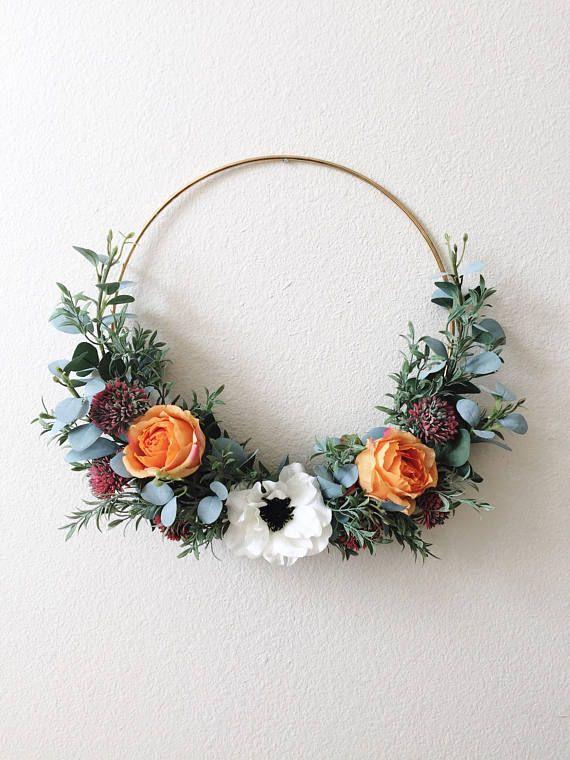 Photo of Modern hoop wreath, Front Door Wreath, Gold Hoop Wreath, Minimal Wreath, Hoop Wreath, Minimalist Wreath, Dusty Miller Wreath, summer