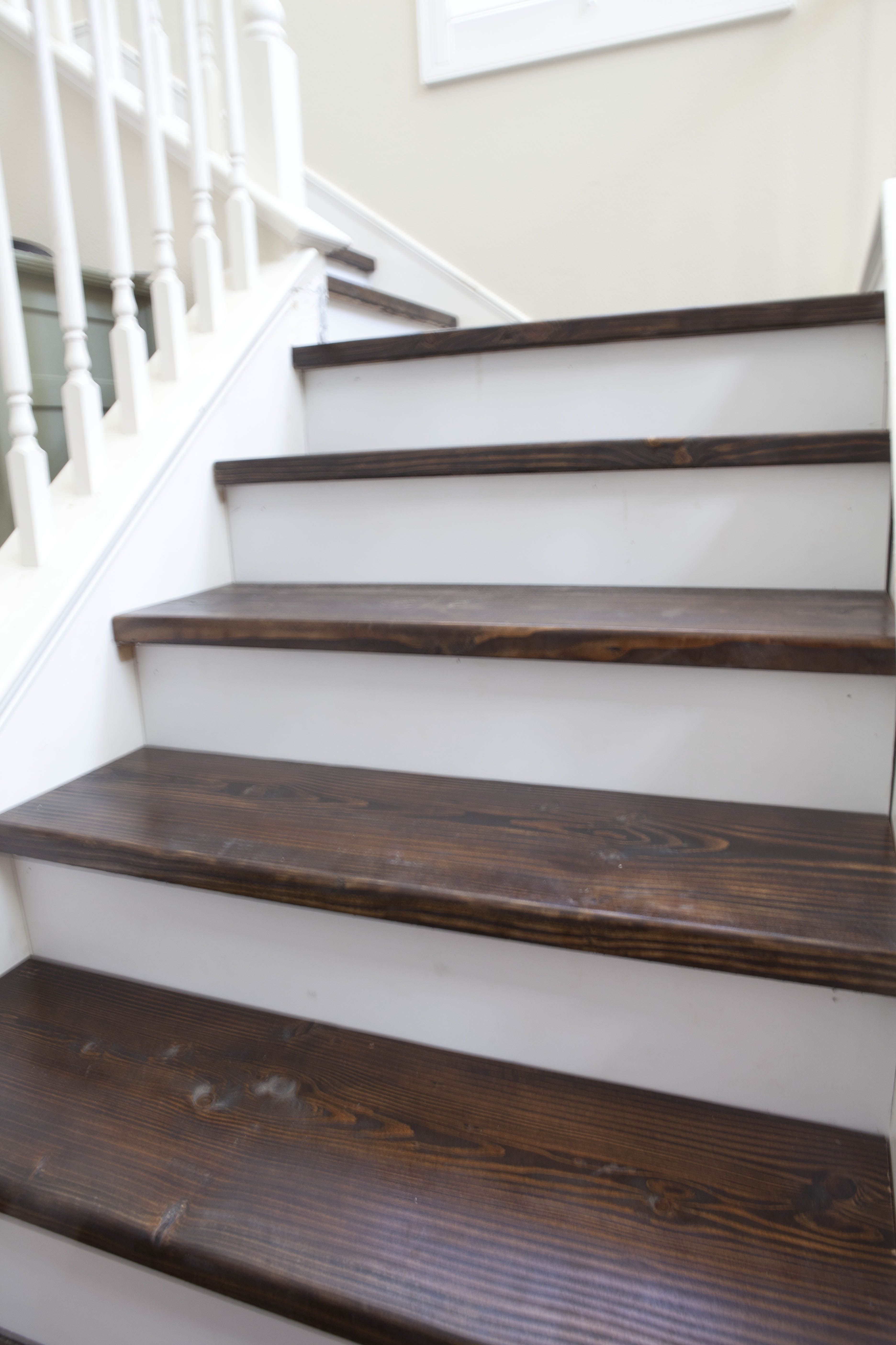New stairs my husband rebuilt each step sanded stained for Farmhouse stairs