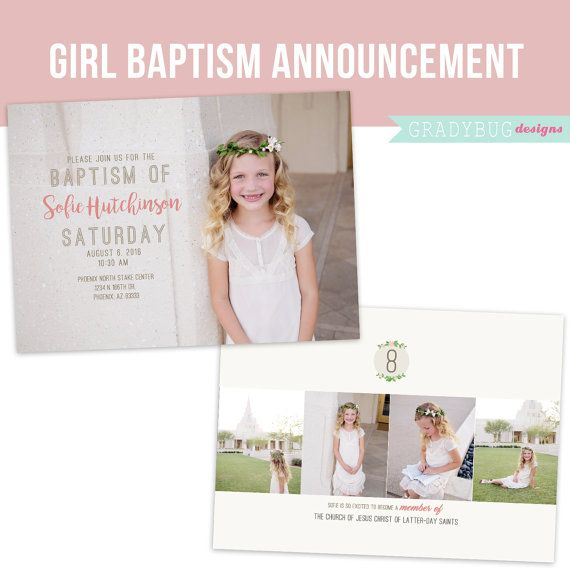 LDS Baptism Invitation, Great to be 8, Girls Baptism Announcement ...