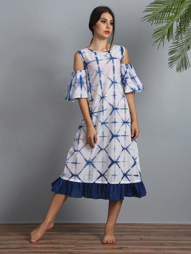 White indigo cotton cold shoulder dress indo western maxi dress in