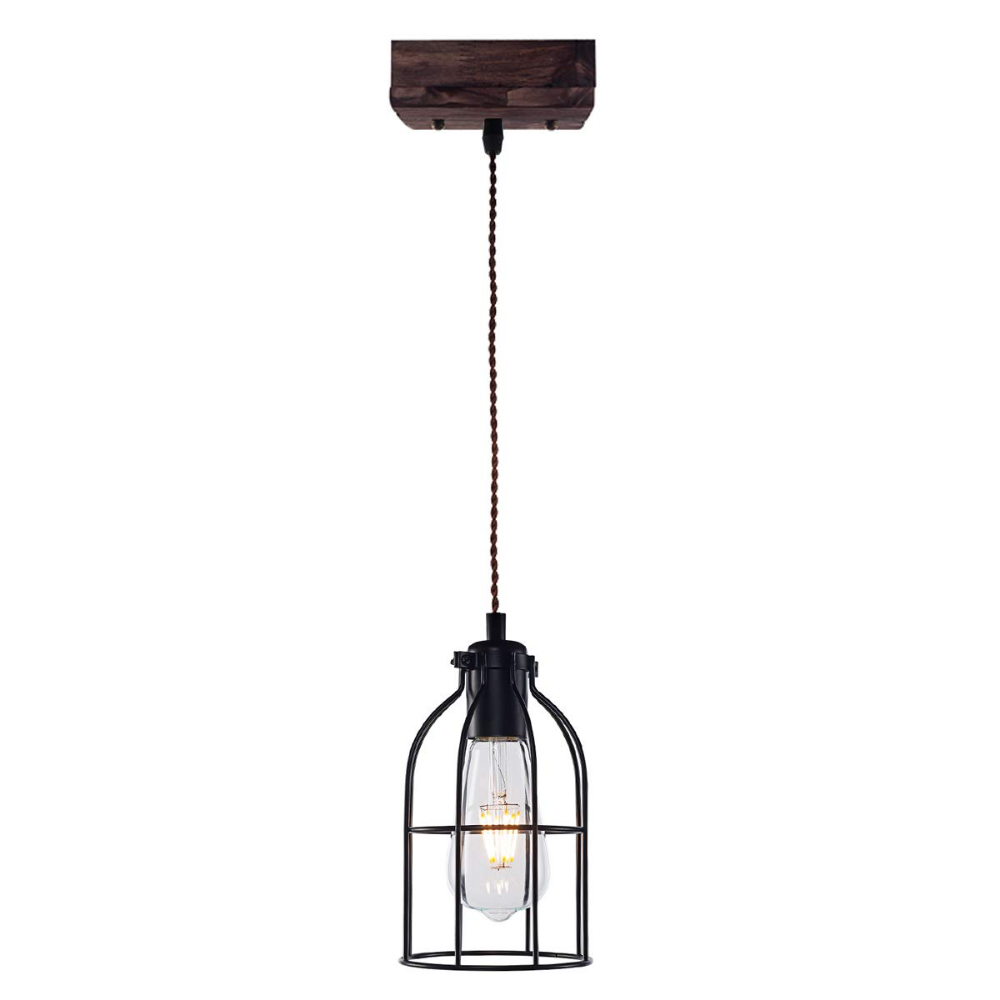 Yaqi Lighting Vintage Wood Pendant Light Industrial Black Metal Cage Pendant Lighting Farmho Rustic Light Fixtures Wood Pendant Light Industrial Pendant Lights