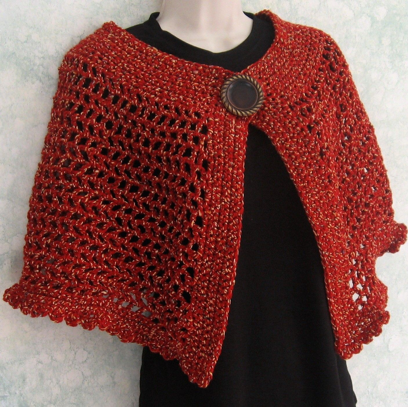Womens Crochet Cape Pattern With Large Button Trim And Snap Closure ...