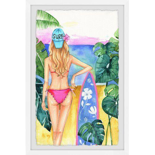 East Urban Home Gerahmtes Poster Surf Girl | Wayfair.de #surfgirls
