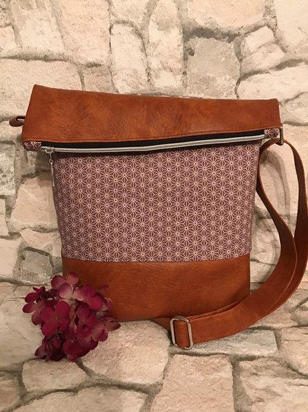 FoldOver Tasche, Asanoha Flieder | Flieder, Schultertasche und Dawanda