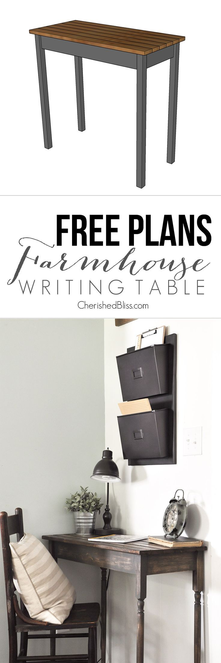 DIY Farmhouse Writing Table Diy farmhouse table, Writing