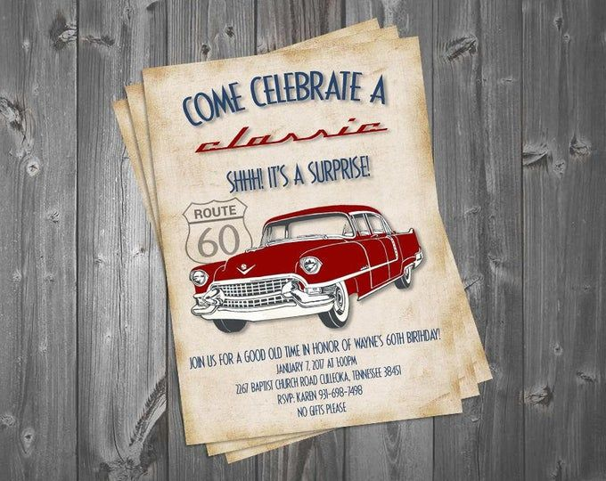 Come Celebrate a Classic 5×7 Birthday Invitation, Classic Car, Surprise Party, 60th Birthday, Vintage Theme