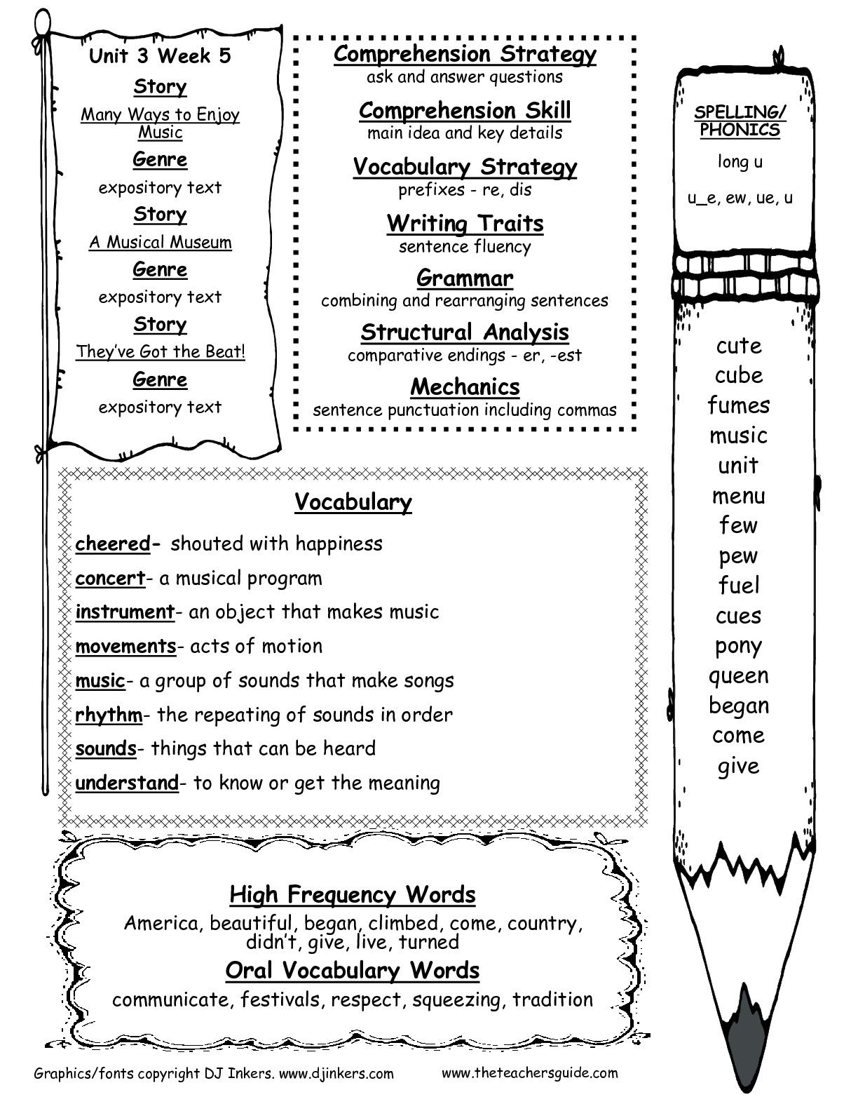 Second Grade Wonders Unit Three Week Five Weekly Outline