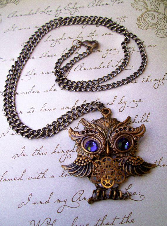 Steampunk Necklace N26 Dame Edna Owl Pendant Vintage Brass