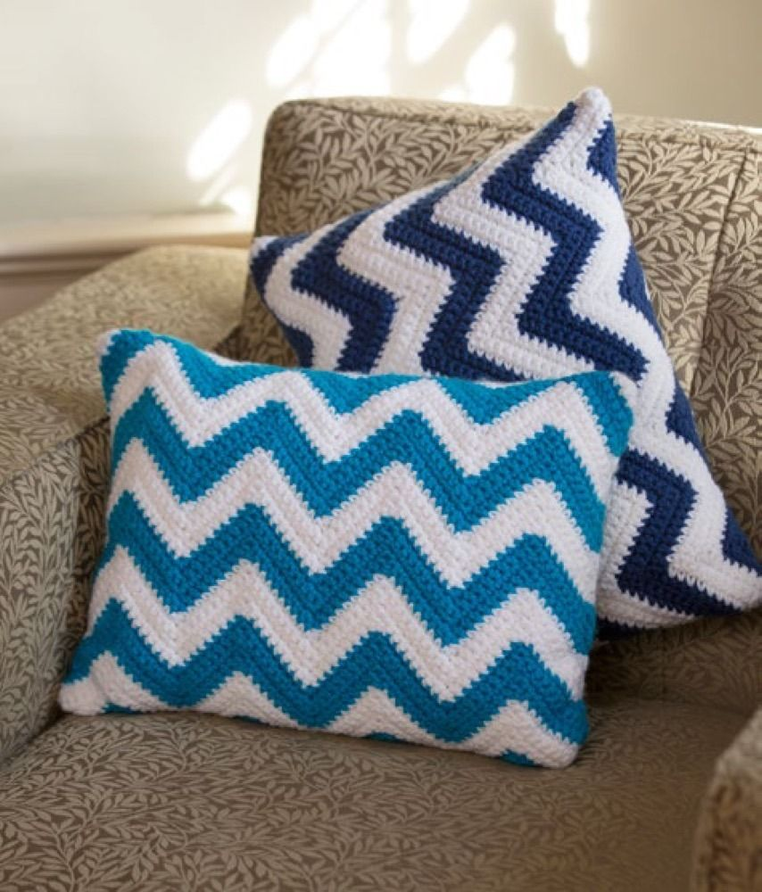 Chevron Pillow Pair in Red Heart With Love Solids - LW4217 ...