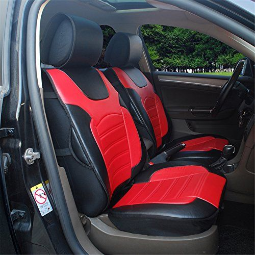 180208s Blackred2 Front Car Seat Cover Cushions Leather Like Vinyl Compatible To Chevrolet Spark Cruse Malibu I Car Seats Leather Car Seat Covers Carseat Cover
