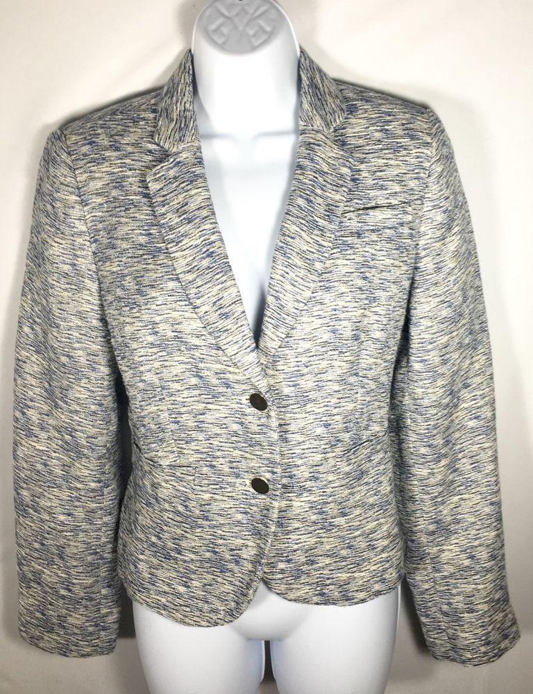 Petite CALVIN KLEIN Linen Blend Blue Tweed Two Button Blazer Suit Jacket 12P #CalvinKlein #Blazer