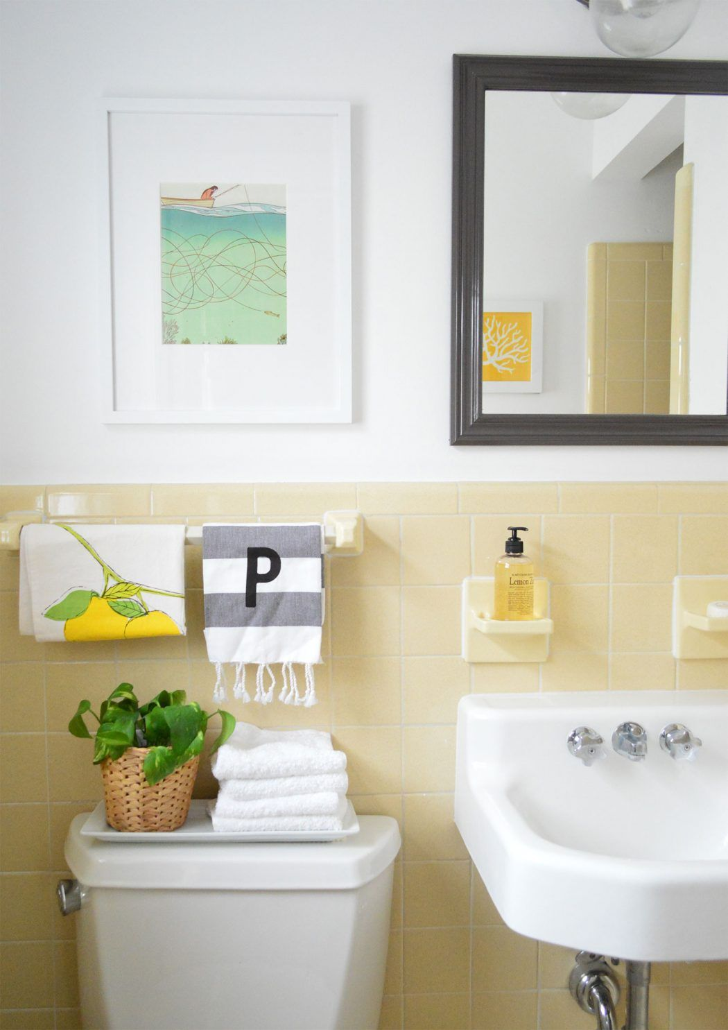 103 Regrets From Our Beach House Reno Yellow Bathroom Tiles Bathroom Makeover Yellow Bathrooms