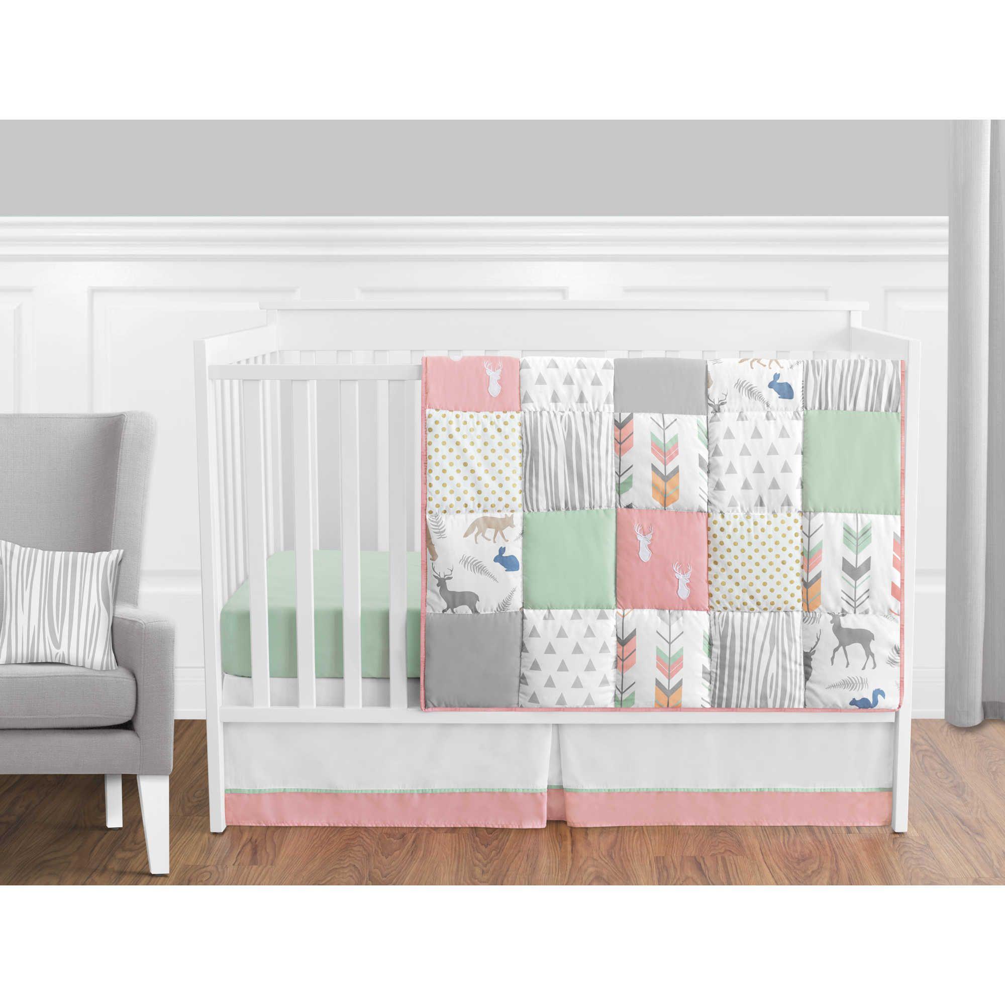 Sweet Jojo Designs Woodsy 11 Piece Crib Bedding Set In Coral Mint