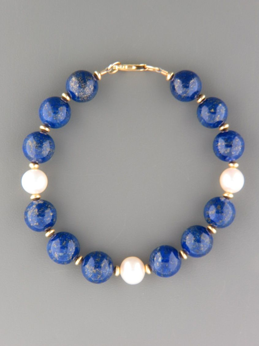 85d94e04d854 Lapis Lazuli Bracelet with Pearls - 10mm round stones with gold ...