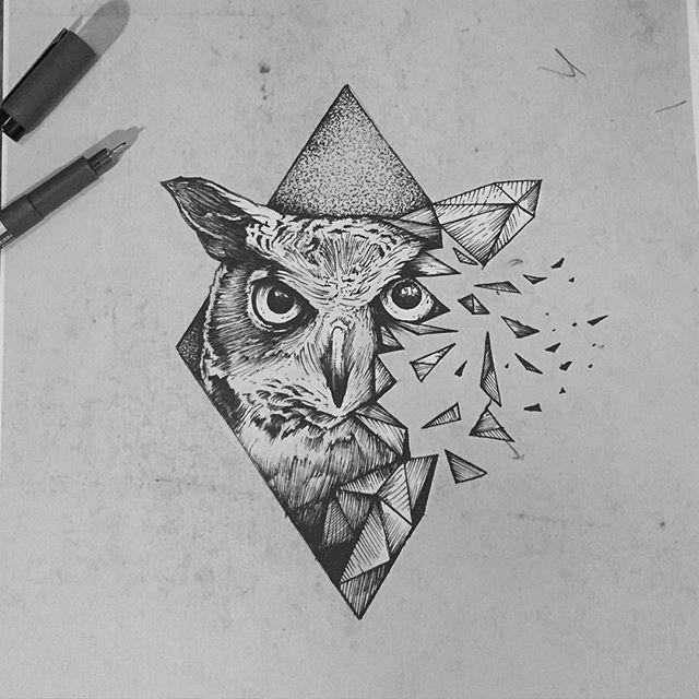 Instagram Photo By Tomtomtatts Dec 28 2015 At 5 57pm Utc Geometric Owl Tattoo Owl Tattoo Drawings Geometric Owl
