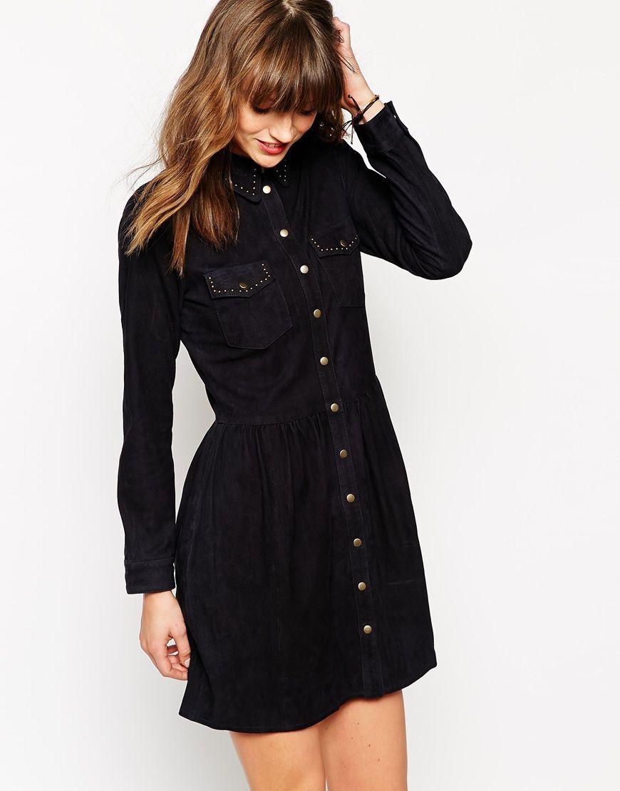 Ganni ingrid suede long sleeve shirt dress winter fashion